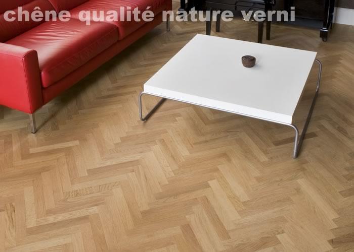 Parquet contrecollé Chene Nature/campagne Bâton rompu - 12 x 90 x 500 mm - Verni incolore - PROMO