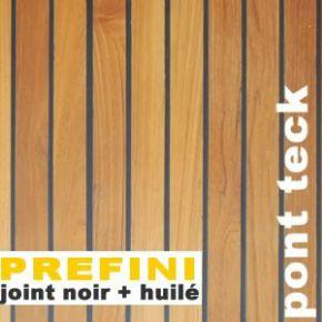 Parquet Pont de Bateau Teck prefini - 12 x 90 mm - Pré-huilé