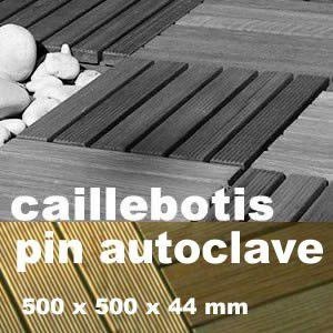 Dalle caillebotis en bois de résineux Pin traité marron - 500 x 500 x 44 mm