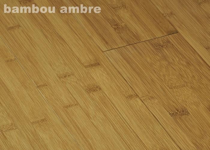Parquet Massif Bambou Ambre - 15 x 96 x 960 mm - Verni - Ambre - Vertical