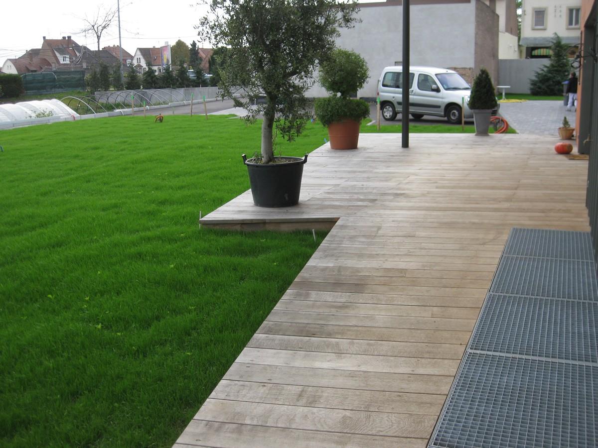 Terrasse - Lames parquet massif Chêne PLAINOAK - 50 x 118/148 mm - Lamellé Collé
