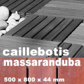 Dalle caillebotis en bois exotique Macaranduba - 500 x 800 x 44 mm