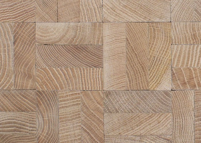 Parquet En Damier parquet massif en bois de bout chêne - 13 x 432 x 432 - brut