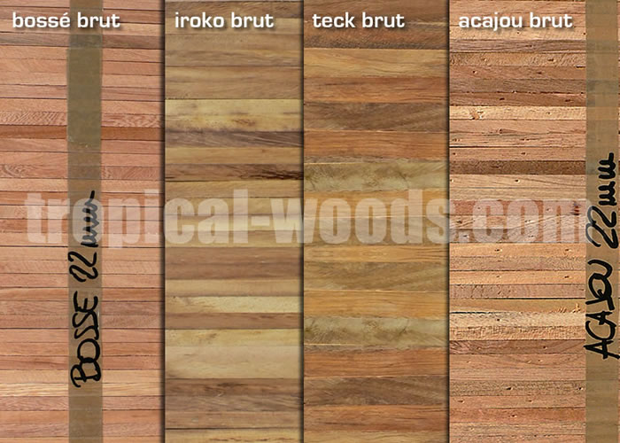 Parquet Industriel Iroko 18 X 22 X 160 Mm Sur Chants Massif