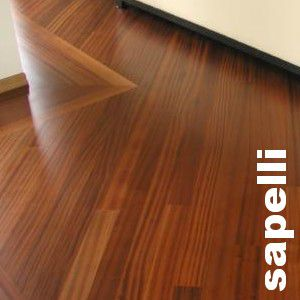 Parquet massif Sapelli - 14 x 120 mm - verni
