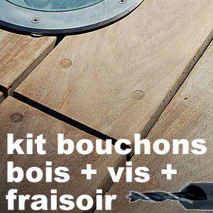 Kit complet - 500 bouchons bois - 500 vis inox - fraisoir - embout de vissage
