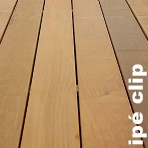 Lames de terrasse exotique à clipser, profil incliné à 45 ° en Ipe lapacho