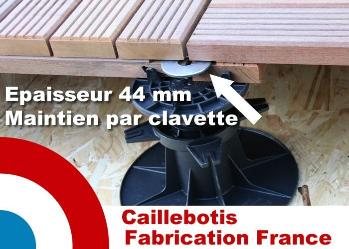 Dalle caillebotis en bois exotique Padouk - 500 x 500 x 44 mm - 7 lames striées