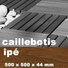 Dalle caillebotis en bois exotique IPE - 500 x 500 x 38 mm - 7 lames