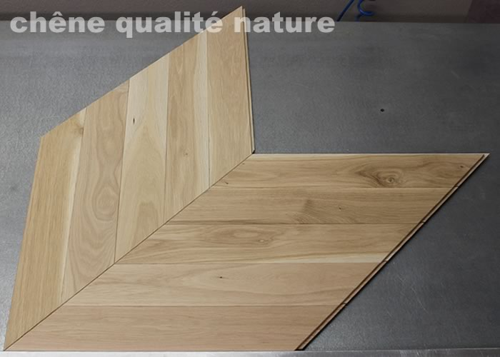 Parquet massif Chene Nature Point Hongrie - 14 x 90 x 500 mm - brut