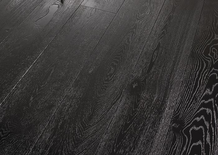 Parquet Contrecollé Chene Rustique/Campagne - 12 x 145 mm - verni brillant - Charbon