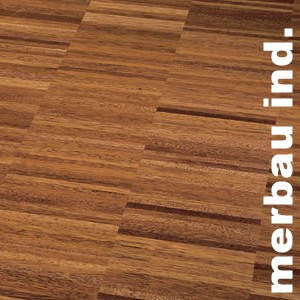 Parquet industriel sur chants en Merbau