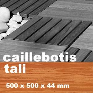Dalle caillebotis en bois exotique Tali - 500 x 500 x 44 mm - 7 lames lisses