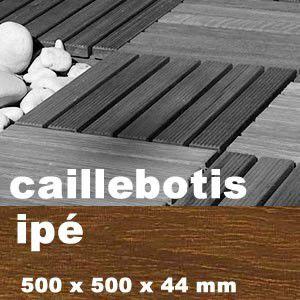 Dalle caillebotis en bois exotique Ipé - 500 x 500 x 44 mm - 7 lames lisses