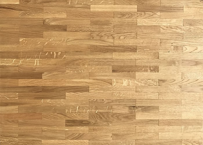 Parquet Industriel mosaique coupe pierre en Chene RU - 8 mm - Brut