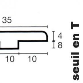Seuil en T en Doussié - 12 x 35 x 1000 mm - verni mat
