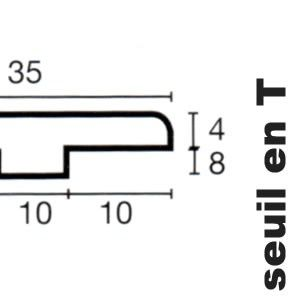 Seuil en T en Merbau - 12 x 35 x 2000 mm - verni mat