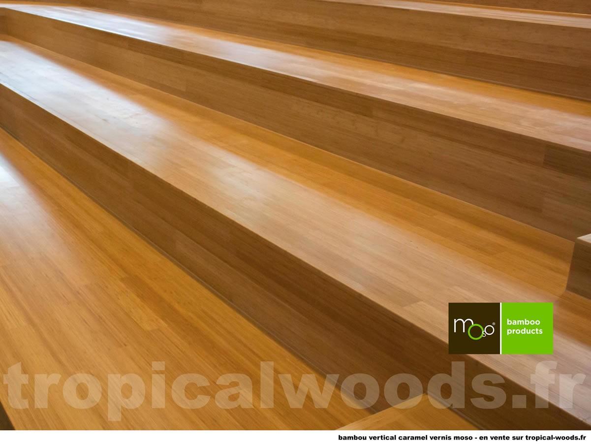 Parquet Massif Bambou Purebamboo Moso - 15 x 96 x 960 mm - Brut - Caramel - Vertical