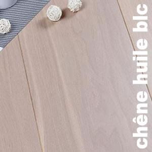Parquets contrecollés -+ 14 mm en Chêne Teinté Blanc