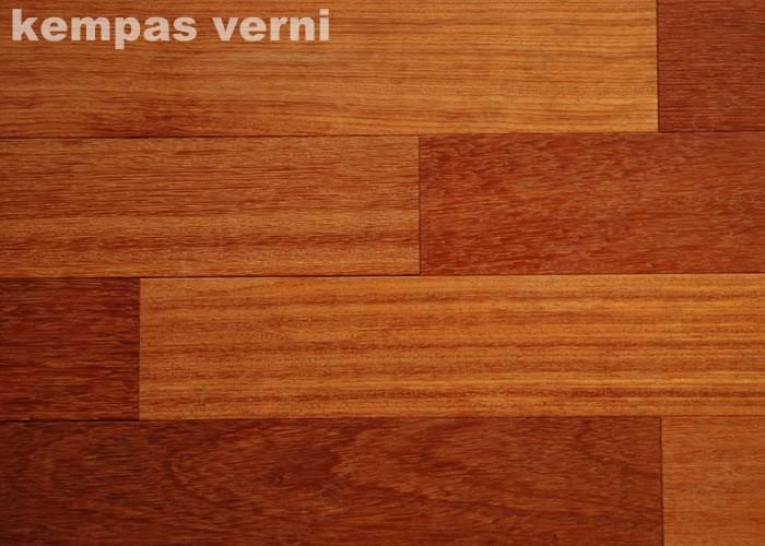 Parquet massif Kempas - 14 x 90 mm - verni