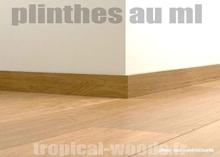 Plinthes plaquées Doussié - 14 x 80 x 2200 mm - Verni