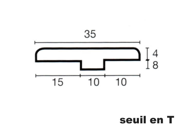 Seuil en T en Teck - 12 x 35 x 1000/2000 mm - verni mat
