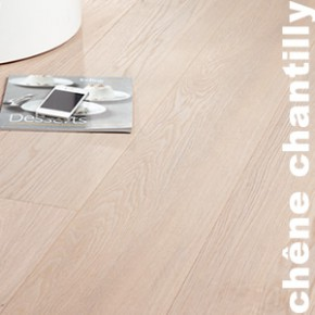 Parquet Contrecollé Chêne Premium - 15(4) x 189 x 1860 mm - Huilé Blanc - Chantilly