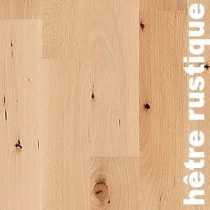 Parquet massif Hetre Europe - 15 x 110 x 500 - 2200 mm - étuvé - Rustique - Brut