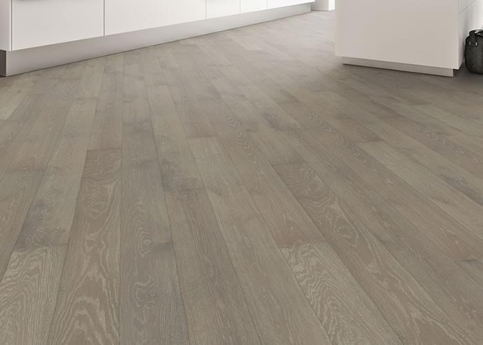 Parquet Contrecollé Chêne Rustique - 14 x 180 mm - Brossé - Verni mat - gris cérusé