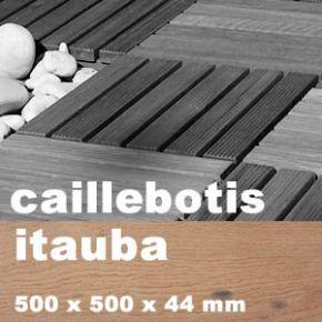 Dalle caillebotis en bois exotique Itauba - 430 x 430 x 44 mm - 7 lames Lisses - PROMO