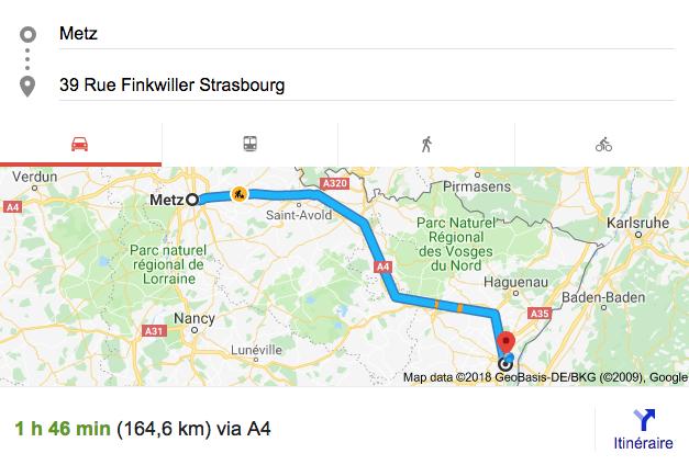 Itinéraire Metz strasbourg